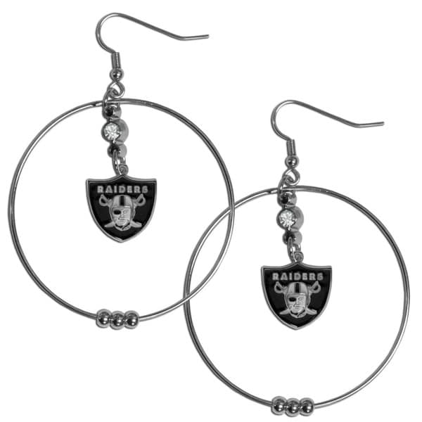 NFL Oakland Raiders 2-inch Hoop Earrings