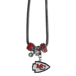 NFL Kansas City Chiefs Chrome Euro Bead Necklace