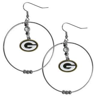 NFL Green Bay Packers Chrome Rhinestone 2-inch Hoop Earrings