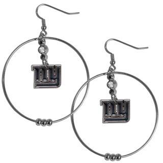 NFL New York Giants Chrome Rhinestone 2-inch Hoop Earrings