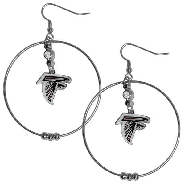 NFL Atlanta Falcons Chrome and Enamel 2-inch Hoop Earrings