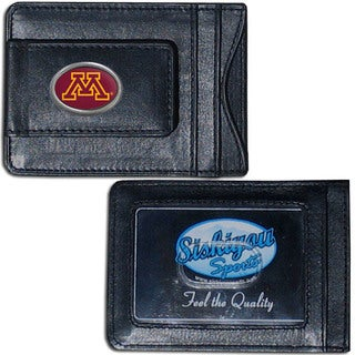 Collegiate Minnesota Golden Gophers Black Leather Cash and Cardholder