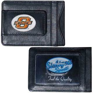 Collegiate Oklahoma State Cowboys Black Leather Cash and Cardholder Money Clip Wallet