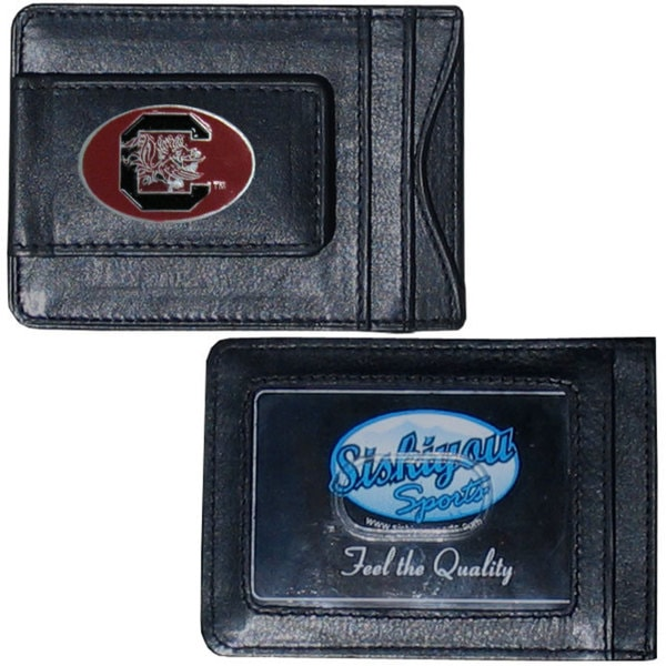 Collegiate S. Carolina Gamecocks Black Leather Cash and Cardholder Wallet
