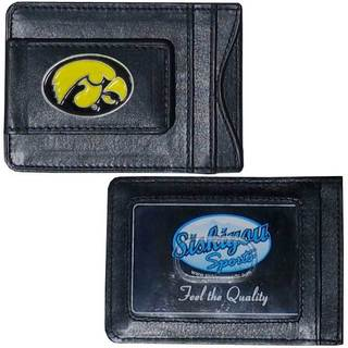 Iowa Hawkeyes Collegiate Black Leather Cash and Cardholder