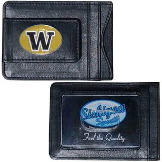 Collegiate Washington Huskies Black Leather Cash and Cardholder Wallet