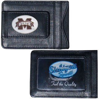 Collegiate Mississippi State Bulldogs Black Leather Cash and Cardholder