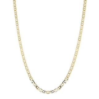 Luxurman 14K Yellow Gold 5.5 mm Flat Mariner Chain Necklace