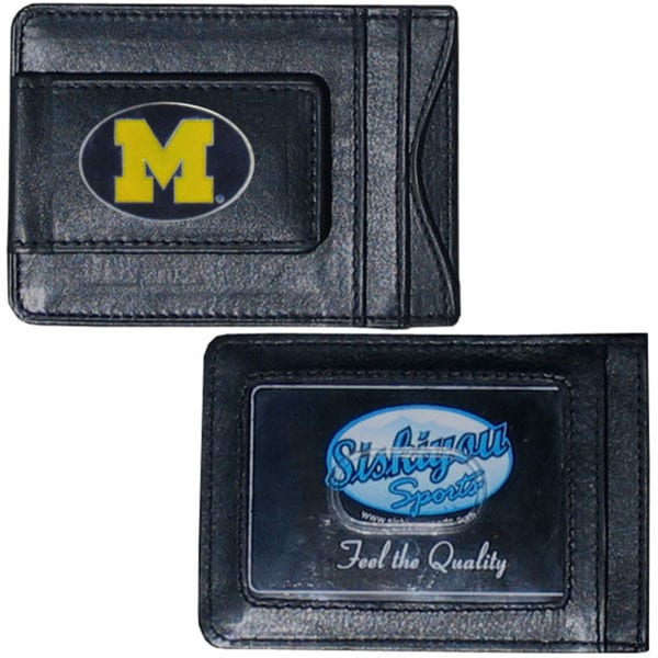 Collegiate Michigan Wolverines Leather Cash and Card Holder