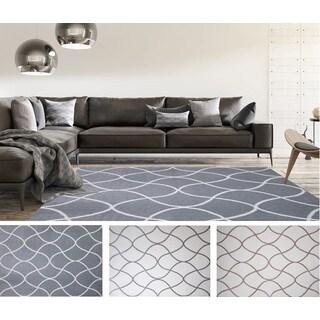 Home Dynamix Ramapo Collection Ivory/Grey Plush Microfiber Shag Area Rug (7'10 x 10'2)
