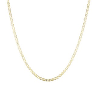 Luxurman 14K Yellow Gold 4.5 mm Flat Mariner Chain Necklace