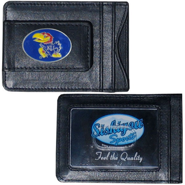 Collegiate Kansas Jayhawks Black Leather Cash and Card Holder