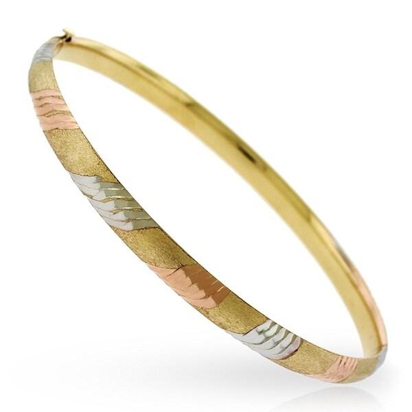 14k Tri Color Gold Fancy Diamond Cut Striped Bangle Bracelet