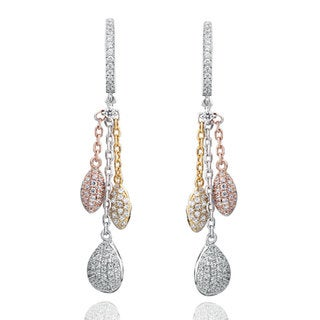Suzy Levian Tri-Tone Sterling Silver White Cubic Zirconia Dangle Earrings