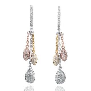 Suzy Levian Tri-Tone Sterling Silver White Cubic Zirconia Dangle Earrings