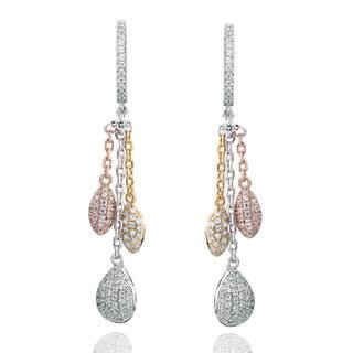Suzy Levian Tri-Tone Sterling Silver White Cubic Zirconia Dangle Earrings|https://ak1.ostkcdn.com/images/products/13474806/P20161421.jpg?impolicy=medium