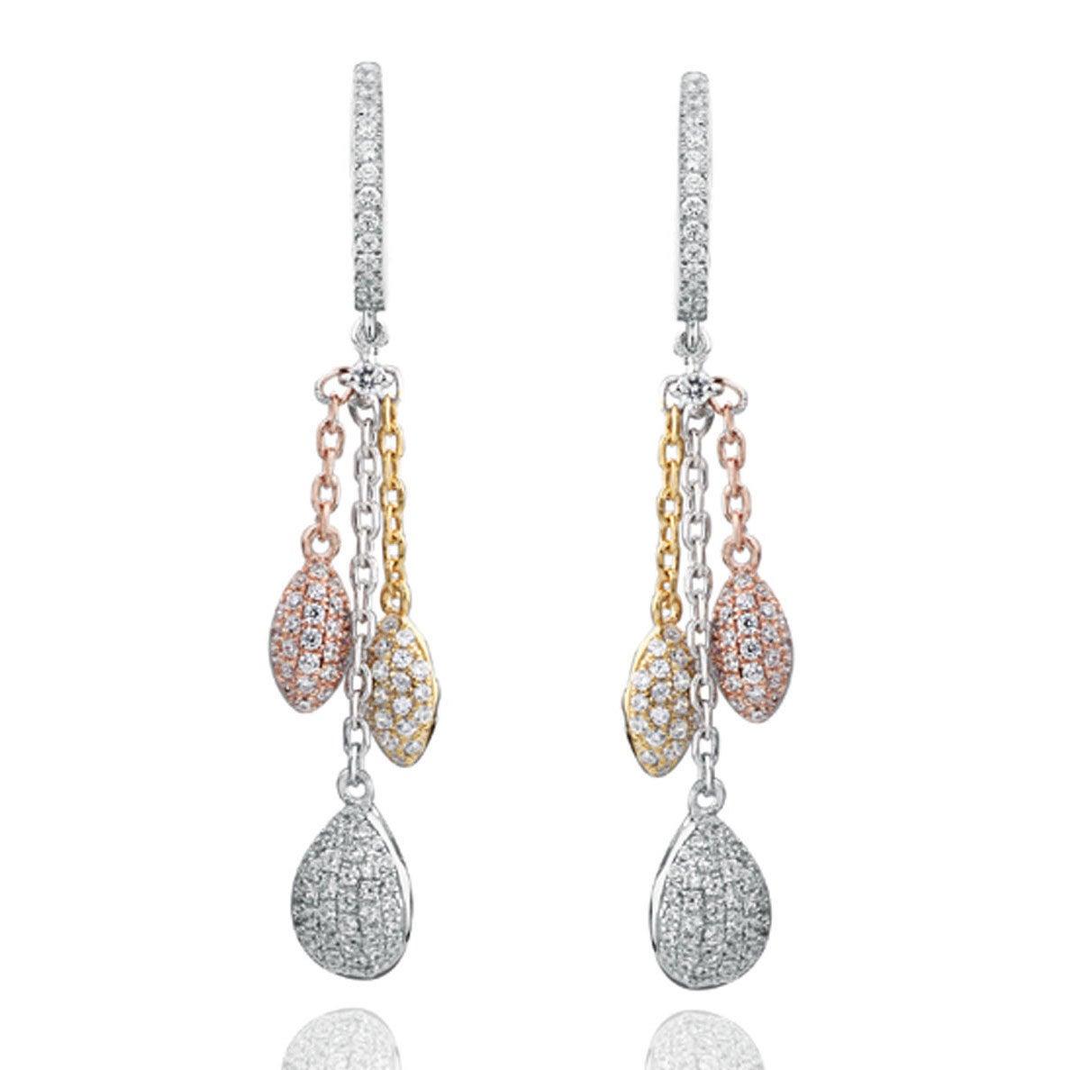 Suzy L Tri Tone Sterling Silver White Cubic Zirconia Dangle Earrings