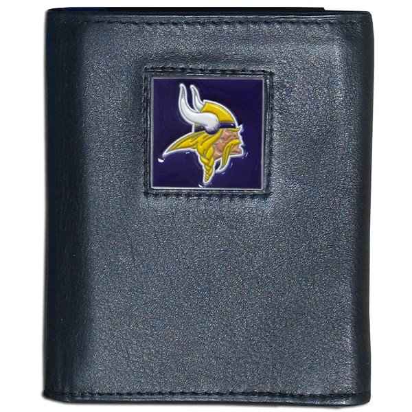 NFL Minnesota Vikings Black Leather Tri-fold Wallet