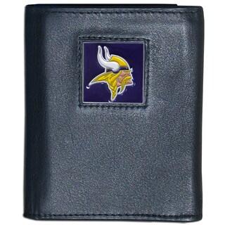 NFL Minnesota Vikings Black Leather Tri-fold Wallet