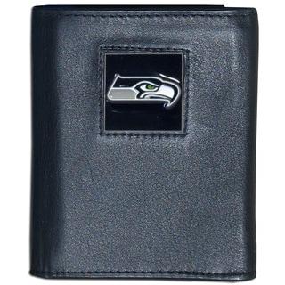 NFL Seattle Seahawks Black Leather Tri-fold Wallet