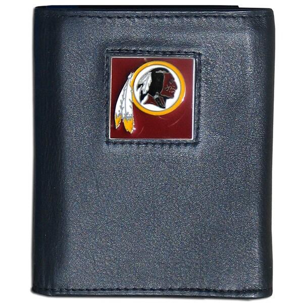 NFL Washington Redskins Black Leather Tri-fold Wallet
