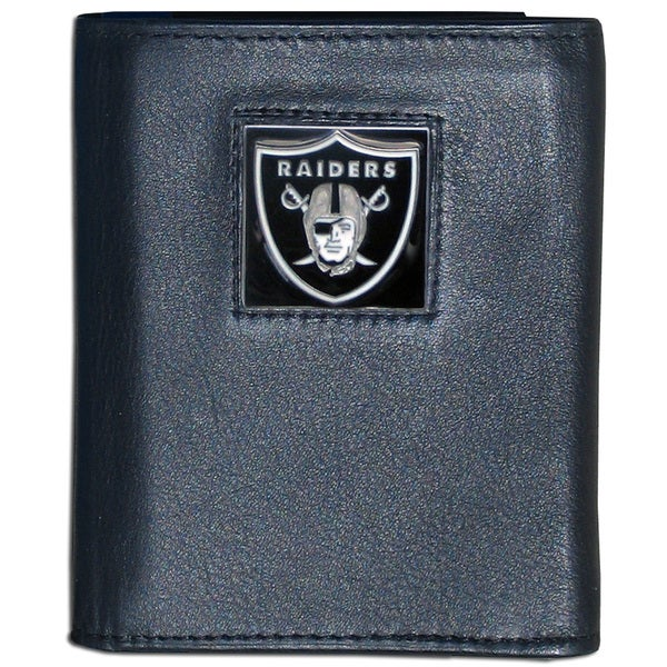 NFL Oakland Raiders Black Leather Tri-fold Wallet