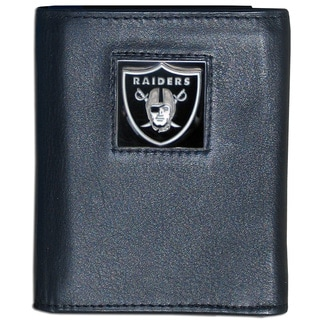 NFL Oakland Raiders Black Leather Tri-fold Wallet