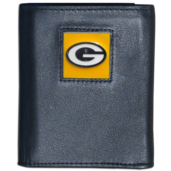 NFL Green Bay Packers Black Leather Trifold Wallet