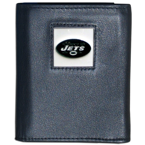 NFL New York Jets Black Leather Tri-fold Wallet