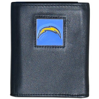 NFL San Diego Chargers Black Leather Tri-fold Wallet
