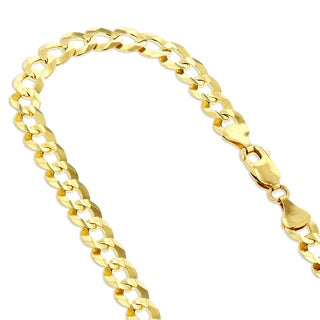 Luxurman 14k White or Yellow Gold 3.5 mm Italy Cuban Curb Solid Chain Necklace