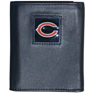 NFL Chicago Bears Black Leather Tri-fold Wallet