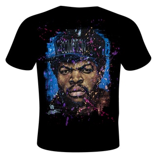 Stephen Fishwick Black Cotton Ice Cube 'Straight Outta' Graphic T-shirt