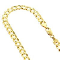 Luxurman 14k White or Yellow Gold  2.6 mm Italy Cuban Curb Solid Chain Necklace