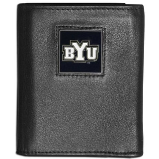 Collegiate BYU Cougars Black Leather Tri-fold Wallet
