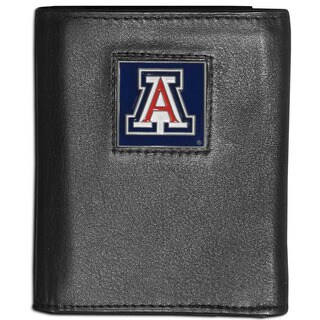 Collegiate Arizona Wildcats Black Leather Tri-fold Wallet