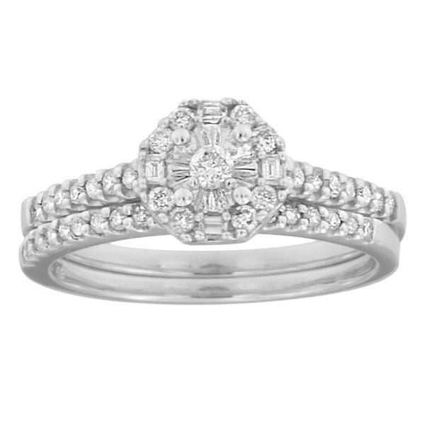 Women's 10k White Gold 2/5ct TDW Round and Baguette Cut Diamond Wedding/Engagement Ring Set (H-I, I2-I3)