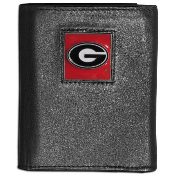 Collegiate Georgia Bulldogs Black Leather Tri-fold Wallet