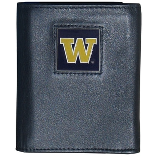 Collegiate Washington Huskies Black Leather Tri-fold Wallet