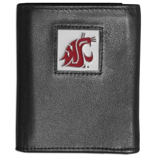 Collegiate Washington State Cougars Black Leather Tri-fold Wallet