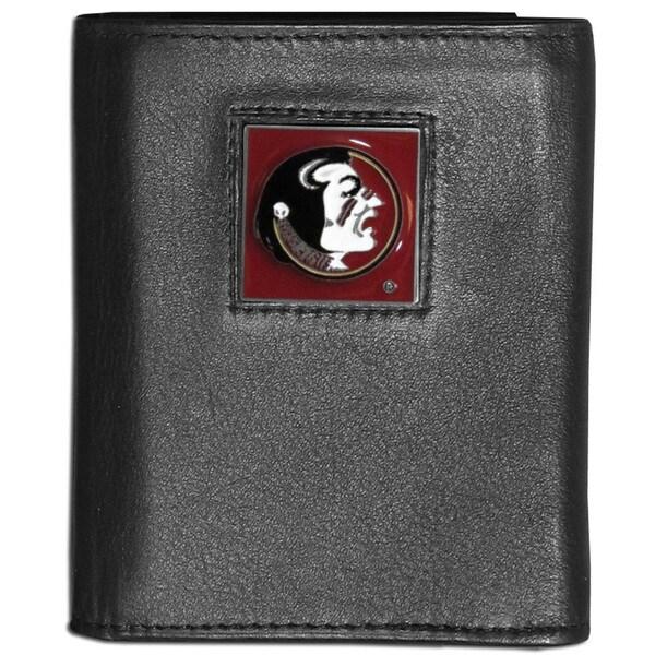 Collegiate Florida State Seminoles Black Leather Tri-fold Wallet