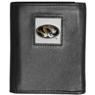 Collegiate Missouri Tigers Black Leather Tri-fold Wallet