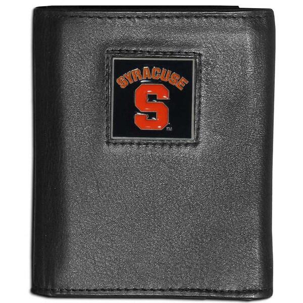 Collegiate 'Syracuse Orange' Black Leather Tri-fold Wallet