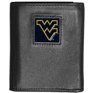 Collegiate West Virginia Mountaineers Black Leather Tri-fold Wallet