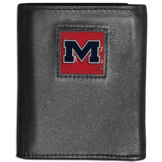 Collegiate Mississippi Rebels Black Leather Tri-fold Wallet