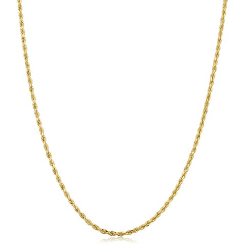 10k Yellow Gold 1.5-mm Semi Solid Rope Chain Necklace (14-30 inch)