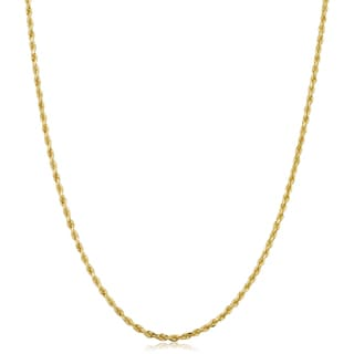 Fremada 10k Yellow Gold 1.5-mm Semi Solid Rope Chain 14 - 30-inch Necklace