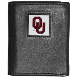 Collegiate Oklahoma Sooners Black Leather Tri-fold Wallet