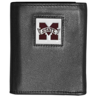 Collegiate Mississippi State Bulldogs Black Leather Tri-fold Wallet