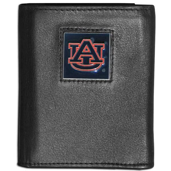 Collegiate Auburn Tigers Black Leather Tri-fold Wallet